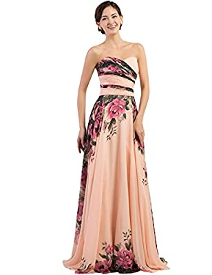 GRACE KARIN Floral Print Graceful Chiffon Prom Dress for Women (Multi-Colored)