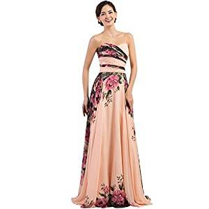 ecb8b25166 GRACE KARIN Floral Print Graceful Chiffon Prom Dress for Women (Multi- Colored)