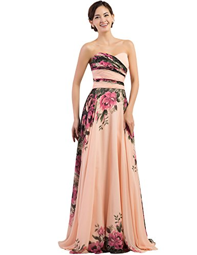 (Floral Chiffon Ball Prom Dress Full Length Size 22 Plus CL7503)