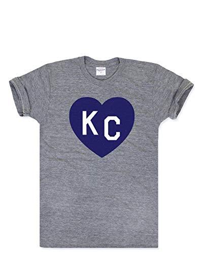 Charlie Hustle Unisex Vintage Grey Blue KC Heart T-Shirt