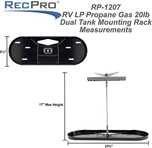 RecPro RV Dual Propane Tank Mounting Rack | for 20lb and 30lb Tanks | Camper and Travel Trailer (20lb Tank Kit)