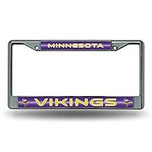 NFL Minnesota Vikings Bling Chrome License Plate Frame with Glitter Accent