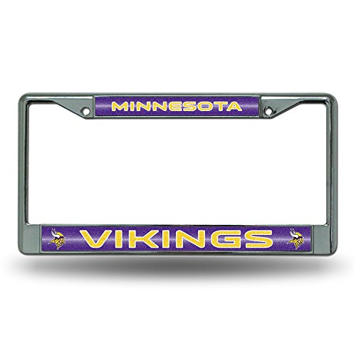 ikings Bling Chrome License Plate Frame with Glitter Accent (Minnesota License Plate Tag)