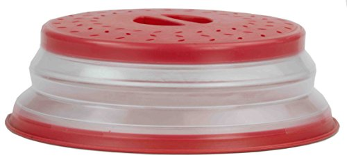 Home Basics MW44966 Collapsible Strainer and and Microwave Plate with Cover, Red