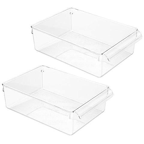 InterDesign Linus Pullz Kitchen Pantry Cabinet Bin Organizer, 2-Pack, Clear
