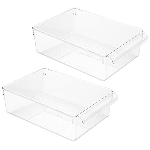 InterDesign Linus Pullz Kitchen Pantry Storage Organizer – Food Container Drawer, Clear, Large,  2-Pack from InterDesign