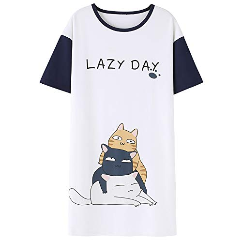 Jashe Tweens/Teens Nightgown - Short Sleeve Cute Cat PJS Nightshirt Big Girls Size 14 16 18]()