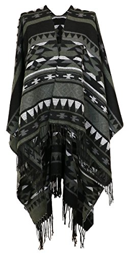 (Cozzy Land Aztec Inspired Tasseled Ruana Wrap (Fog))