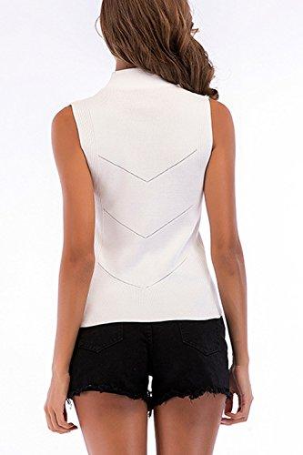 Top Shirt Tee Le Senza Maniche Donne Collo Maglia Elastico Alto Estate White T 06FBRwqvn
