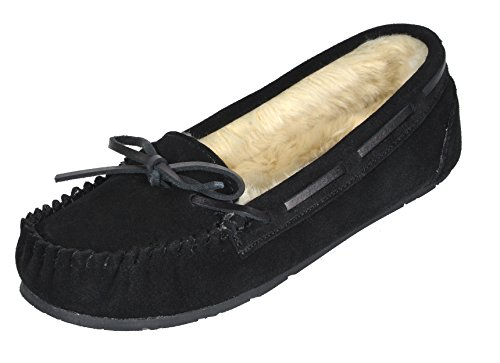 DREAM PAIRS Women's Shozie-01 Black Faux Fur Slippers Loafers Flats Shoes Size 8.5-9 M ()