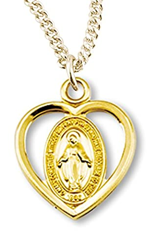 Girl's 16kt Gold Over Sterling Silver Heart Cut Out Miraculous Pendant + 16 Inch Gold Plated Chain & - Gold Heart Medal