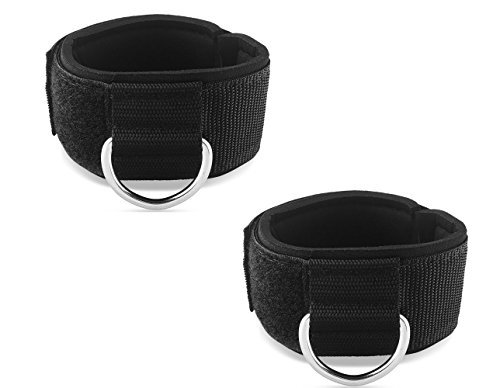 HYVAWO Ankle Strap Neoprene Padded Fitness Wrist Cuff with D Ring High Strength Exercises Belt Gym Pulley Strap for Cable Machines (Black 2 -