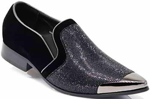 0d23ceb4b Enzo Romeo CRT Men Rhinestone Chrome Toe Suede Pointy Dress Loafer Slip On Fashion  Shoes