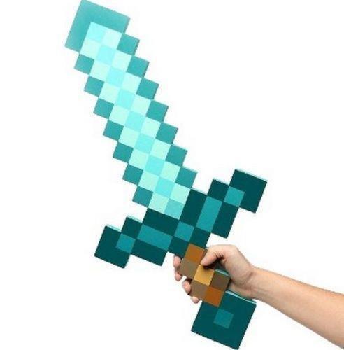 Minecraft Sky Blue Role Play Prop Diamond EVA Foam Sword Mine Toy