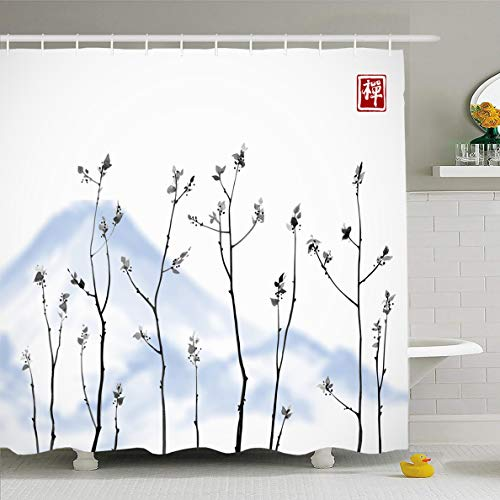 Ahawoso Shower Curtain for Bathroom 72 x 72 Inches Birch Green Tree Branches Fresh Leaves Tea Blue Mountains Abstract Nature Watercolor Branch Waterproof Polyester Fabric Set with Hooks