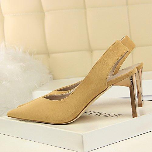 singles satinado alto zapatos la noche de simple punta Qiqi de con la Amarillo de la de y Xue con tacón Elegante boquilla femeninos metal viaje luz video delgado qSFzTYw