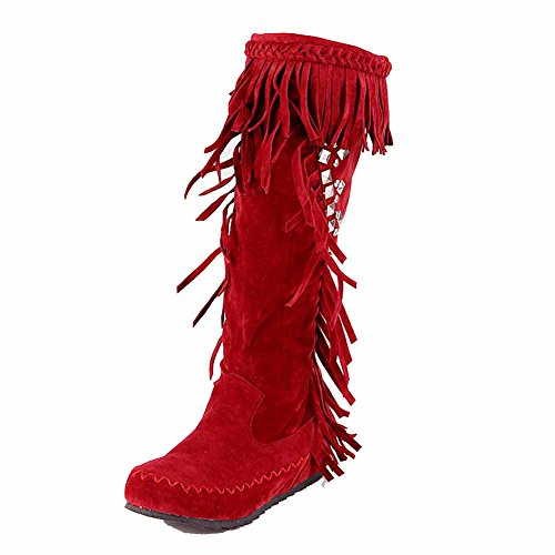 AgooLar Women's Pull On Low Heels Frosted Fringed Mid Top Boots Red