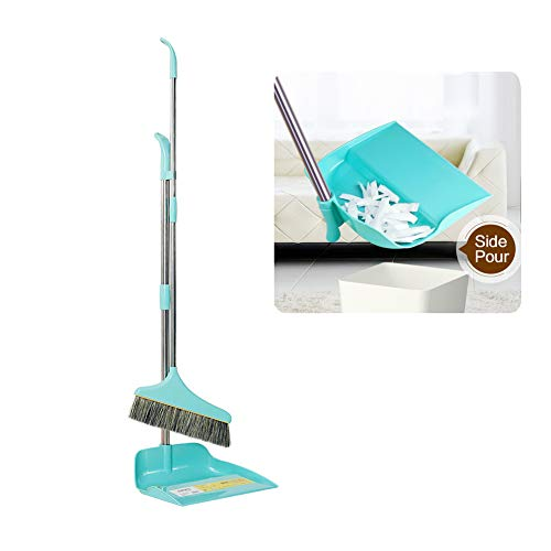 Angled Lobby Broom - Markmall Broom and Dustpan Set,Dustpan Cleans Broom Combo Long Handle for Home Kitchen Room Office Lobby Floor Use Upright