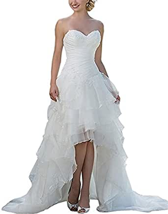 Folobe High Low Sweetheart Wedding Dress Mermaid Lace Layered Evening Gown,Ivory