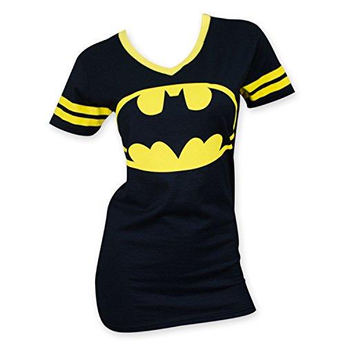 Batman Women's V-Neck Yellow Rimmed Shirt X-Large Black