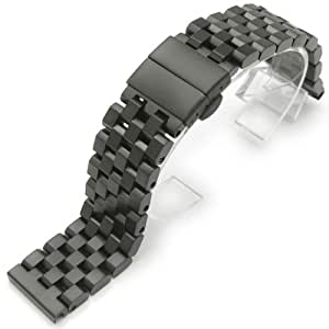24mm SUPER Engineer Type II Solid Stainless Steel Straight End Watch Band-PVD Black Deployment Clasp
