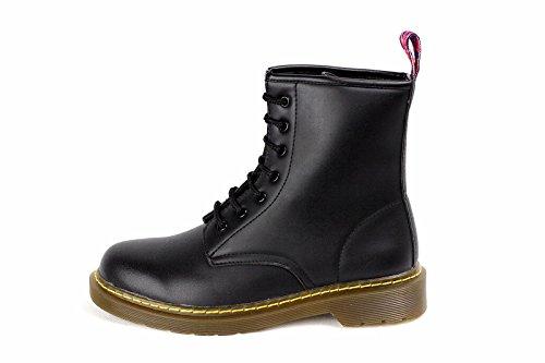 Botas Mujer Mujer Chica Chelsea Bloque Plano Tacón A Tobillo Combate Zapatos Pantorrilla Talla Negro