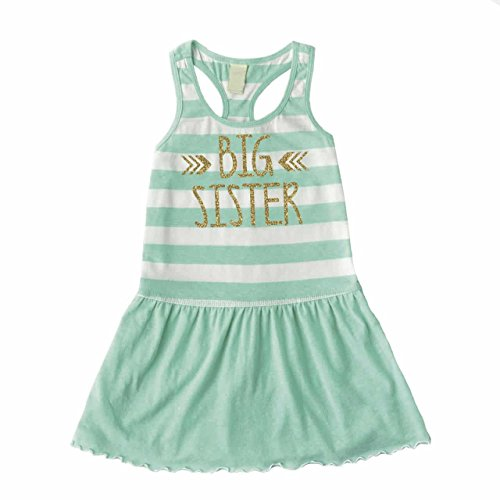 Bump and Beyond Designs Big Sister Dress, Baby Girl Clothes, Big Sister Outfit Summer Tank Dress (3T) Green