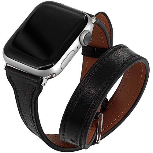 Falandi Compatible for Apple Watch Band 44mm Series 4, Double Genuine Leather iPhone Wristband Tour Women Girls Bracelet Replacement Strap for iWatch 42mm, Series 3 Series 2 Series 1 (Black, - Watch Strap Bracelet Double