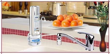 CRYSTAL QUEST countertop Replaceable Single Fluoride Multi PLUS Water Filter System -Stainless Steel