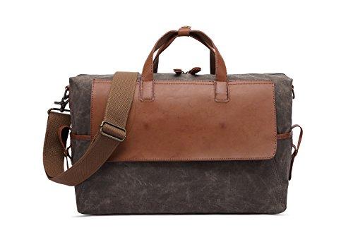 Bag Computer Retro Canvas Brown Capacity Travel Men's Handbag Large Waterproof Oil wxfB5IqF