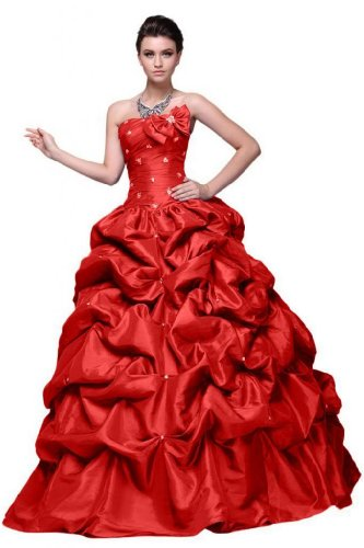 abiti linea lungo Sunvary da Sweetheart Vestito elegante della Pageant Line sera A Rosso OOp0qvRw