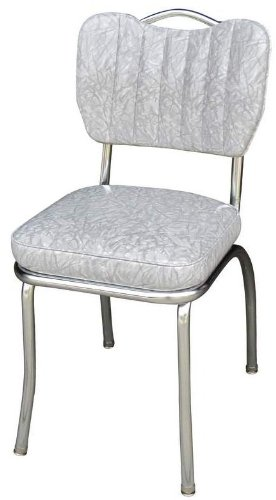 Richardson Seating Retro 1950s Handle Back Retro Kitchen Chair in Cracked Ice Grey -