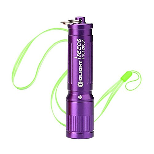 Olight I3E EOS LUXEON TX LED 90 lumens Miniature LED Flashlight Use AAA battery and Skyben Hand Strap Lanyard (Purple)