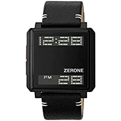 ZERONE Bsquared 3 Ultra Slim All Black Leather Strap Digital Watch