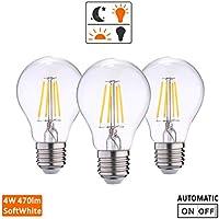 Dusk to Dawn Photocell Sensor LED lights Bulbs, Auto On/Off incandescen bulb 40W light sensor light for Porch Hallway, Patio 4W, 470lm,Warm white(2700K),AC120V,Smart Light Lamp (Pack of 3)