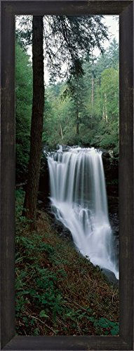 Great Art Now Dry Falls, Nantahala National Forest, Macon County, North Carolina by Panoramic Images Framed Art Print Wall Picture, Espresso Brown Frame, 11 x 29 inches -