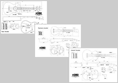 Set of 3 Plans - Soprano, Concert & Tenor Ukuleles - Full Scale - Three Plans