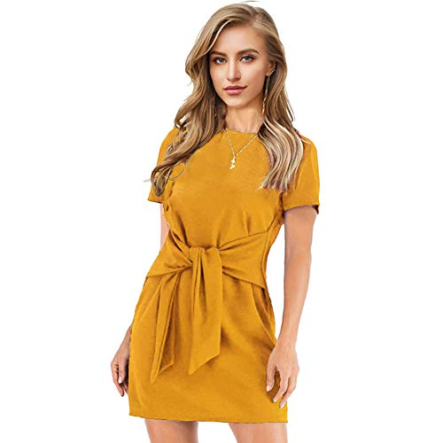 Longwu Women's Loose Casual Front Tie Short Sleeve Bandage Dress for Party Work Summer Yellow-S