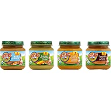 Earth's Best Organic Stage 2 Baby Food, Delicious Din Din Variety Pack (Sweet Potatoes & Chicken, Summer Vegetable, Vegetable & Turkey, and Rice & Lentil), 4 Ounce Jars, Pack of 12
