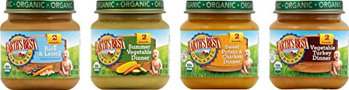 Earth's Best Organic Stage 2, Delicious Din Din Variety Pack, 12 Count, 4 Ounce Jars