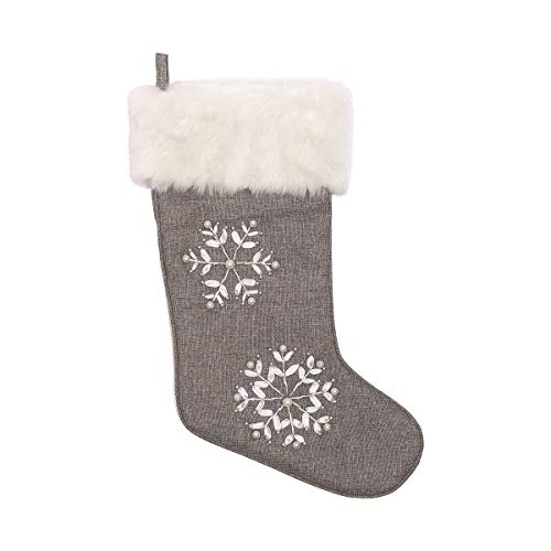 (C&F Home Silver Snowflake Pewter Gray 19 x 14 Fabric with Pearl Accent Christmas Stocking)