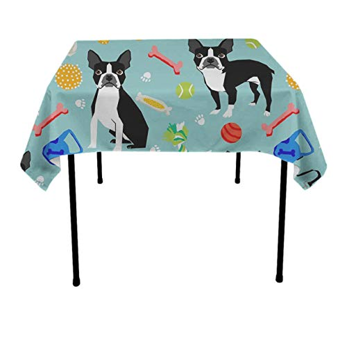 GOAEACH Table Cover, Dust-Proof Stain Resistant Dinning Tabletop Decoration Boston Terrier Toys Dog Table Protectors - 70 x 70 inches, Outdoor Party, DJ, Holidays, BBQ