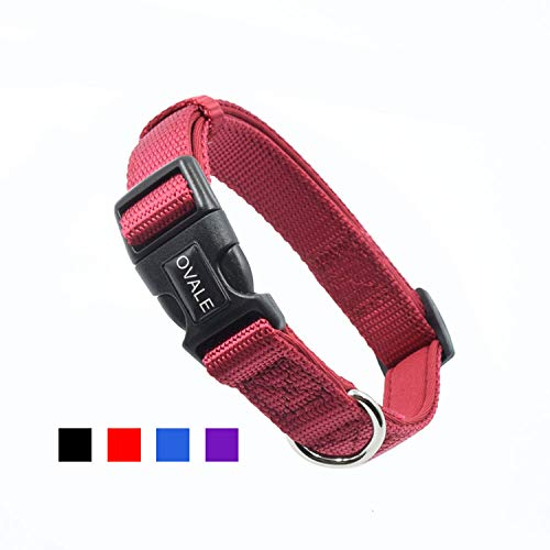 Ovale Soft and Comfortable Neoprene Padded Nylon Basic Dog Collar Solid Color Pattern for Small Dogs(S, Red)