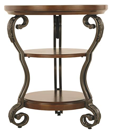 - Ashley Furniture Signature Design - Nestor Chair Side End Table - Medium Brown