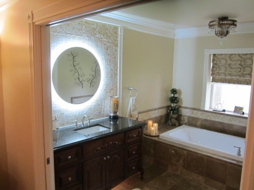 Lighted Vanity Mirror Wall Mounted LED Round 36'' Side Lighted by Mirrors and Marble
