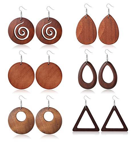 JOERICA 4 Pairs Statement Dangle Earrings for Women Girls Ethnic Wood Drop Earrings Stainless Steel Stud (D:6 Pairs)