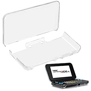 New Nintendo 2DS XL Case Accessories Anti-Scratch Carrying Case Clear PC Hard Protective Cover Shell skin For Nintendo 2DS XL Handheld Games Console,For Boys,Girls,Kids,Teens 1 Sets (Transparent)