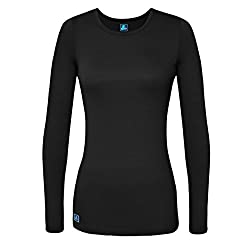 Adar Womens Comfort Long Sleeve T-shirt Underscrub Tee - 2900 - Black - S