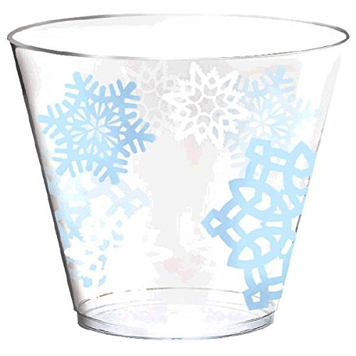 Snowflake Christmas Tumblers Party Drinkware Favour (40 Pieces), Clear/Blue, 9 oz.