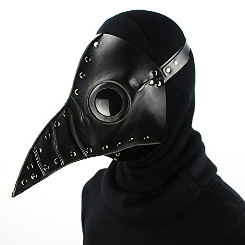 SaiDeng Halloween Party Mask Plague Doctor Cosplay Props Steampunk PU Leather Mask (Black2)]()